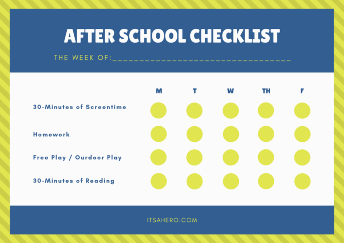 after school checklist printable
