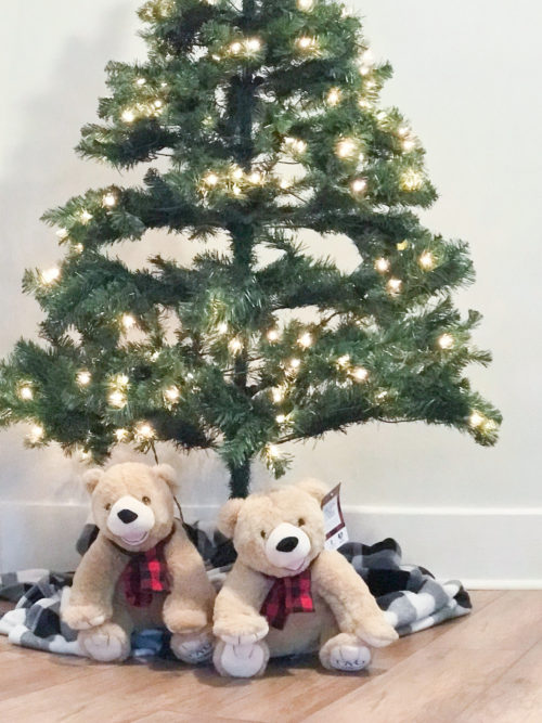 teddy bears under christmas tree