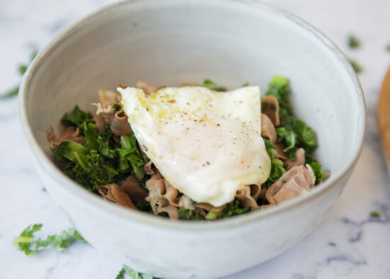 Keto Sauteed Kale Prosciutto and Fried Egg
