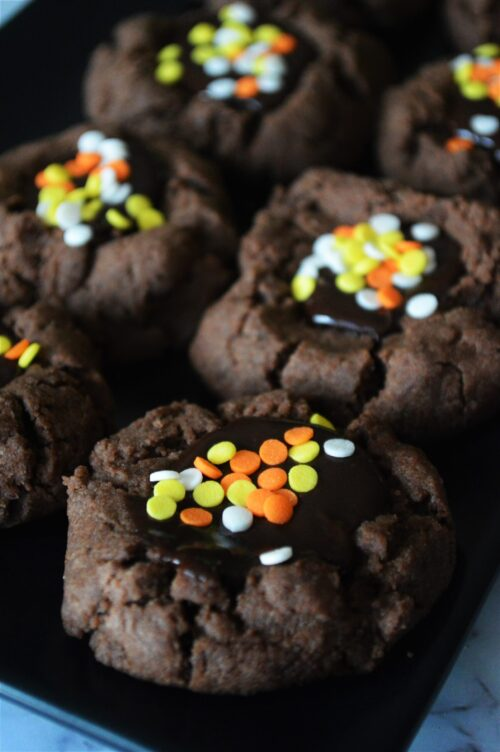 Halloween Chocolate Thumbprint Cookies