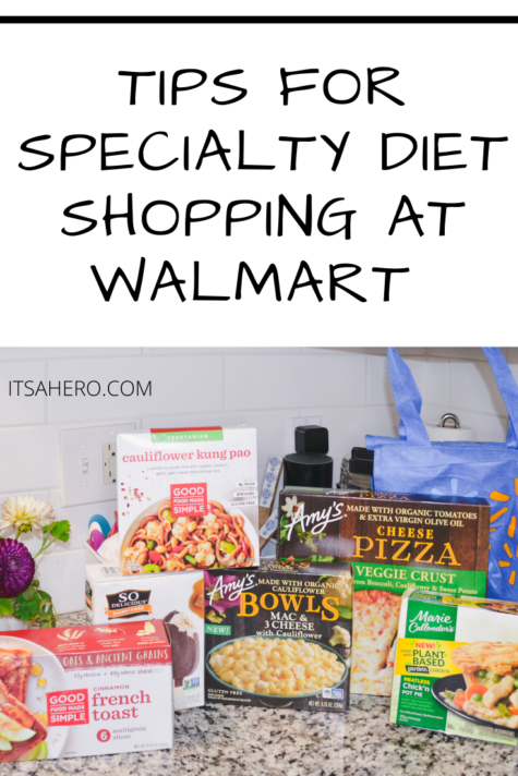 PIN ME - I'm going to share all of my tips for specialty diet shopping at Walmart. Yep all of these are from Walmart! #ad #meatless #amyskitchen