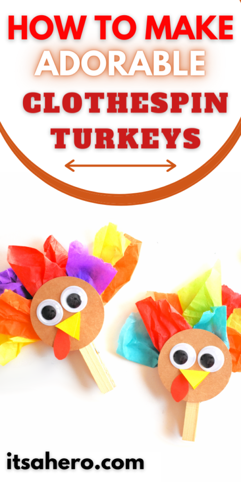 Pin Me - How to make adorable Clothespin Turkeys for Thanksgiving
