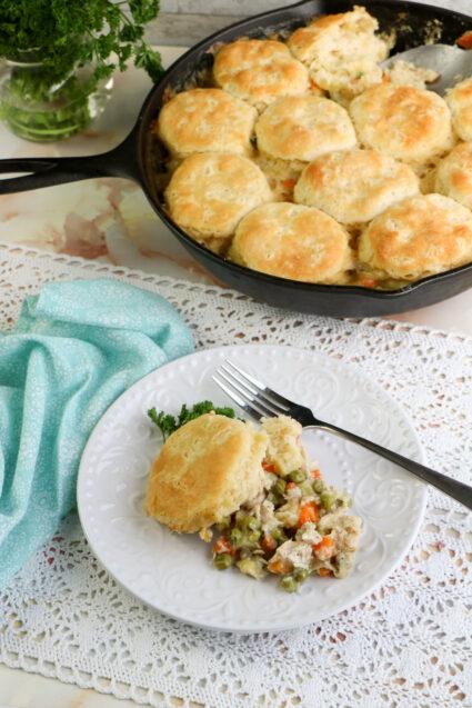 Skillet Turkey Pot Pie with Biscuit