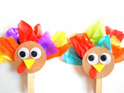 Clothespin Tissue Paper Thanksgiving Turkey Craft
