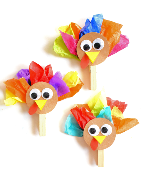 Clothespin Tissue Paper Thanksgiving Turkey Craft