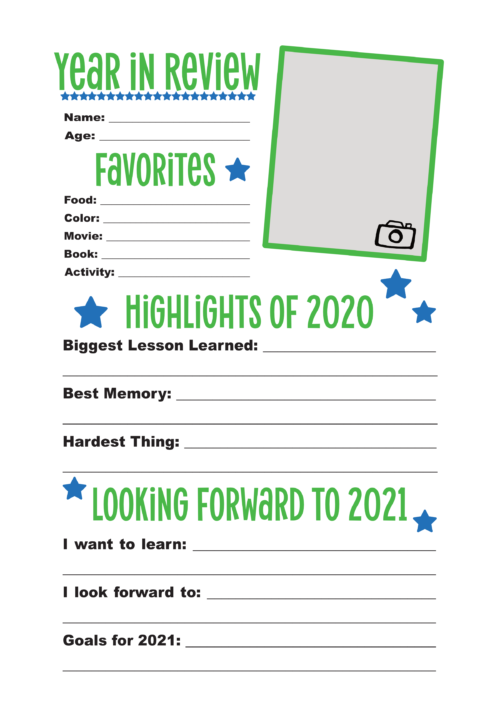 2020 Year In Review Printable For Kids