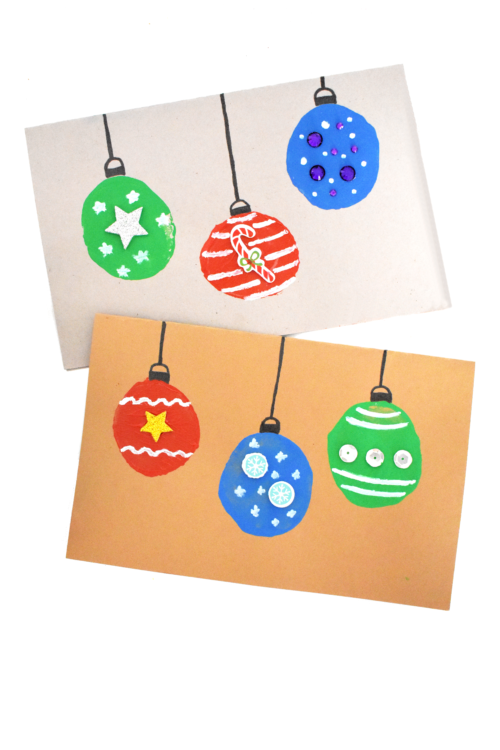Potato Stamp Christmas Ornament Card