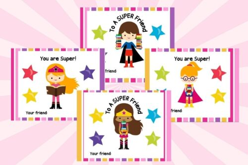 Valentine's Day Girl Superhero Cards