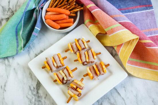 Pretzel Ham and Cheese Kabobs
